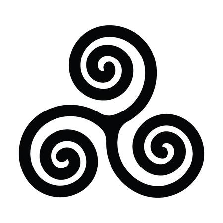 Triskelion or triskele symbol. Triple spiral - celtic sign. Simple flat black vector illustration.
