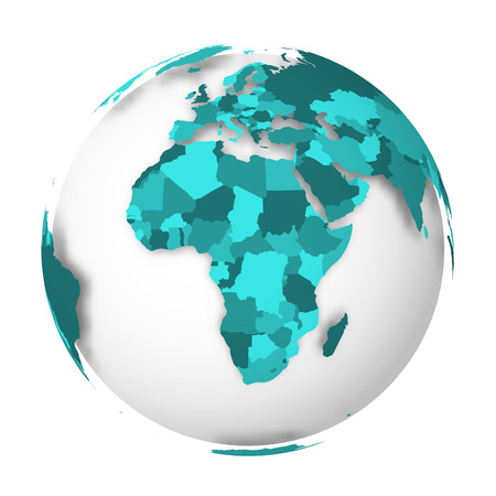Blank political map of Africa. 3D Earth globe with turquoise blue map. Vector illustration.