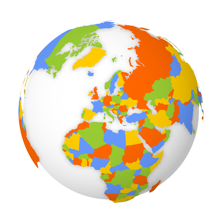 Blank political map of Europe. 3D Earth globe with colored map. Vector illustration. Zdjęcie Seryjne - 121293919