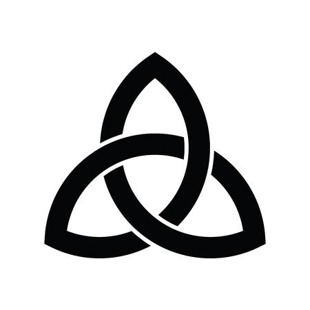 Icono de signo de Triquetra. Símbolo celta en forma de hoja. Nudo de trinidad o trébol. Ilustración de vector negro simple.