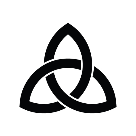 Triquetra sign icon. Leaf-like celtic symbol. Trinity or trefoil knot. Simple black vector illustration.