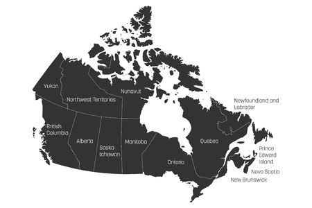 Map of Canada divided into 10 provinces and 3 territories. Administrative regions of Canada. Grey map with labels. Vector illustration. Vectores