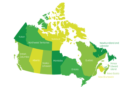 Map of Canada divided into 10 provinces and 3 territories. Administrative regions of Canada. Green map with labels. Vector illustration.