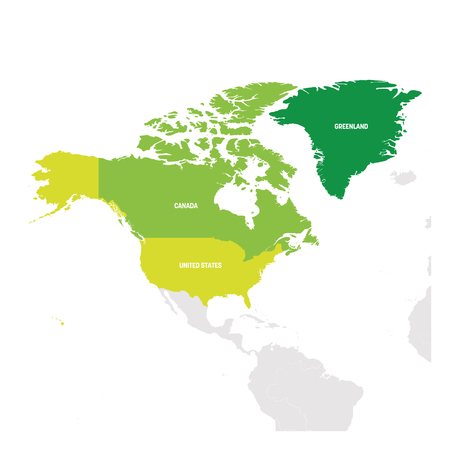 North America Region. Map of countries in northern America. Vector illustration. Illustration