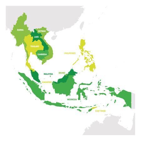 Regione del sud-est asiatico. Mappa dei paesi del sud-est asiatico. Illustrazione vettoriale. Vettoriali