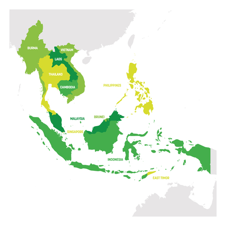 Southeast Asia Region. Map of countries in southeastern Asia. Vector illustration.