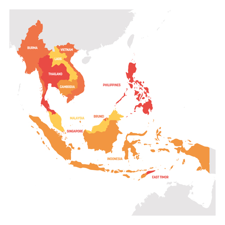 Southeast Asia Region. Map of countries in southeastern Asia. Vector illustration. Vetores