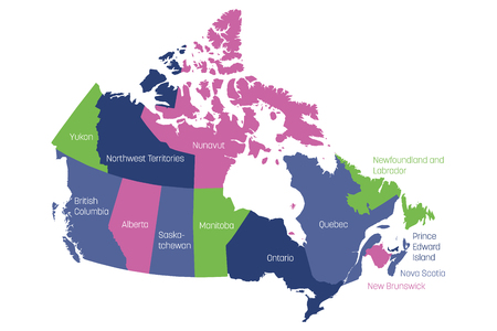 Map of Canada divided into 10 provinces and 3 territories. Administrative regions of Canada. Multicolored map with labels. Vector illustration.