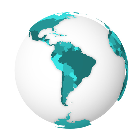 Blank political map of South America. 3D Earth globe with turquoise blue map. Vector illustration.