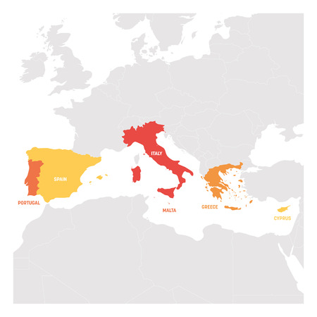 South Europe Region. Map of countries in southern Europe around Mediterranean Sea. Vector illustration.
