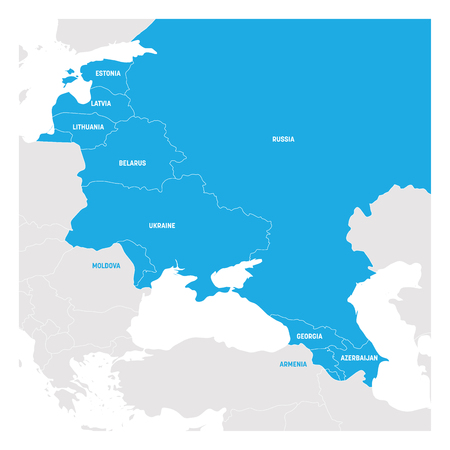 East Europe Region. Map of countries in eastern Europe. Post Soviet and Caucasian countries. Vector illustration.