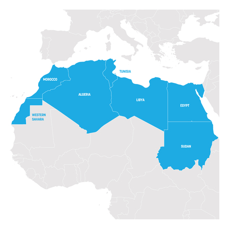 North Africa Region. Map of countries in northern Africa. Vector illustration.