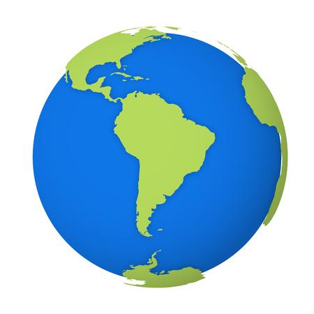 Natürliche Erdkugel. 3D-Weltkarte mit grünen Ländern, die Schatten auf blaue Meere und Ozeane werfen. Vektor-Illustration.