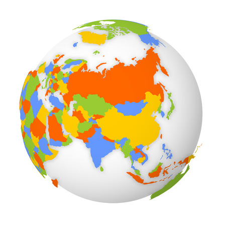 Blank political map of Asia. 3D Earth globe with black outline map. Vector illustration.