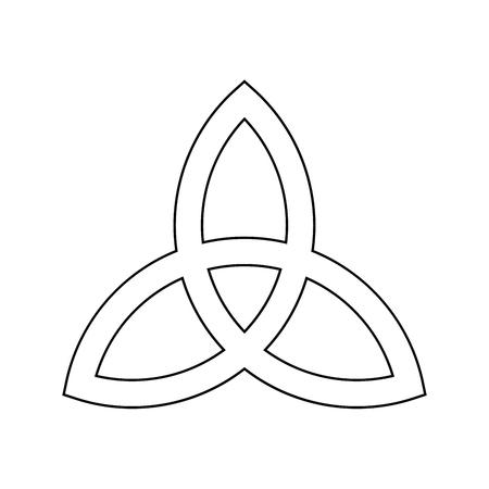 Triquetra sign icon. Leaf-like celtic symbol. Trinity or trefoil knot. Simple black outline vector illustration.