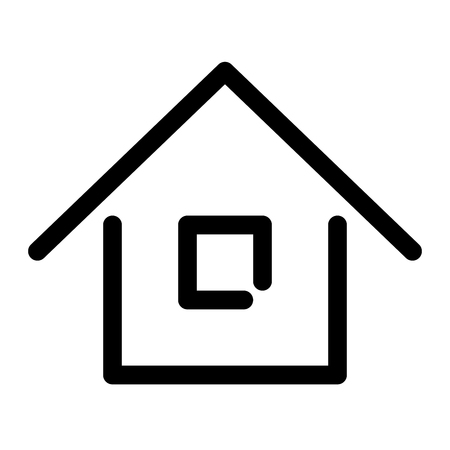 Home sign. Symbol of house. Outline modern design element. Simple black flat vector icon with rounded corners.  イラスト・ベクター素材
