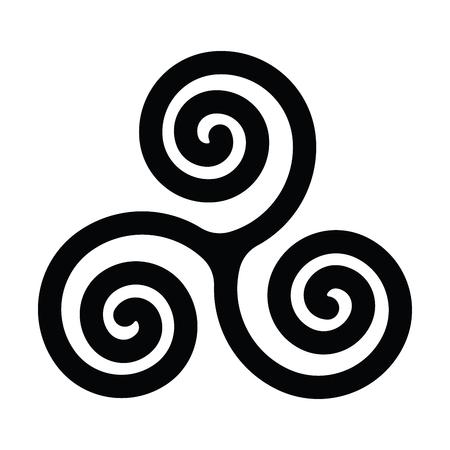 Simbolo di Triskelion o triskele. Tripla spirale - segno celtico. Semplice illustrazione vettoriale piatto nero. Vettoriali