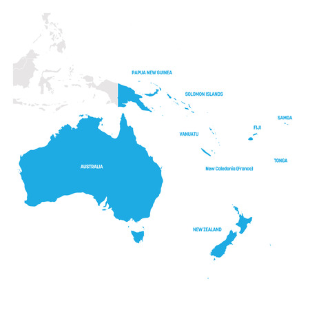 Australia and Oceania Region. Map of countries in South Pacific Ocean. Vector illustration. Vetores