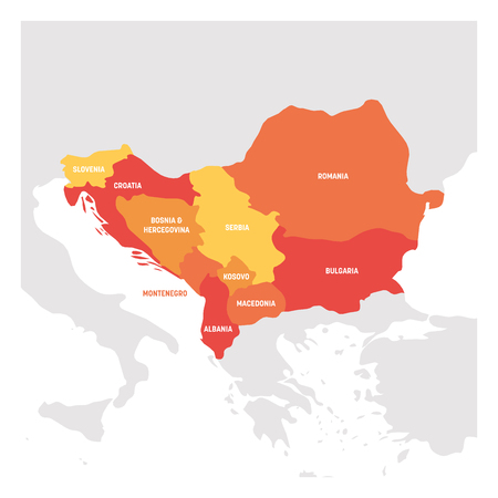 Southeast Europe Region. Map of countries of Balkan Peninsula. Vector illustration.