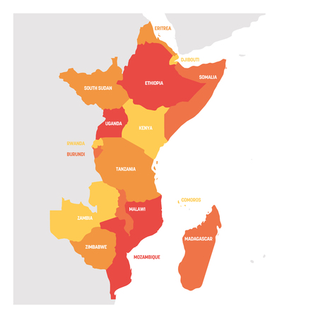 Región de África Oriental. Mapa de países de África oriental. Ilustración de vector. Ilustración de vector