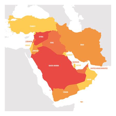 Région Asie de l'Ouest. Carte des pays d'Asie occidentale ou du Moyen-Orient. Illustration vectorielle.
