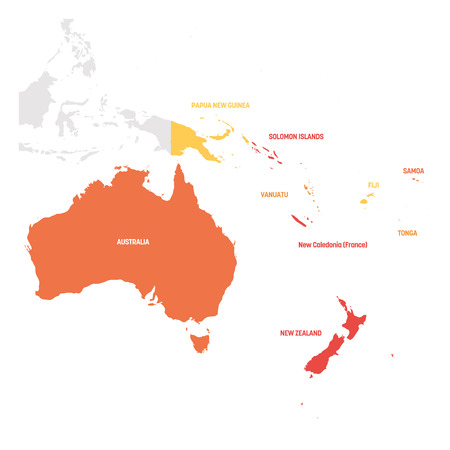 Australia and Oceania Region. Map of countries in South Pacific Ocean. Vector illustration. Illustration