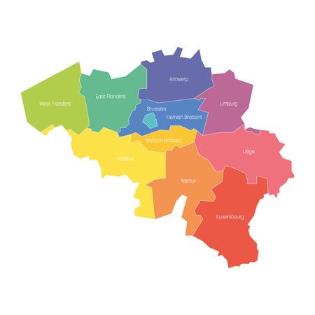 Provinces de Belgique. Carte des divisions administratives régionales du pays. Illustration vectorielle colorée. Vecteurs