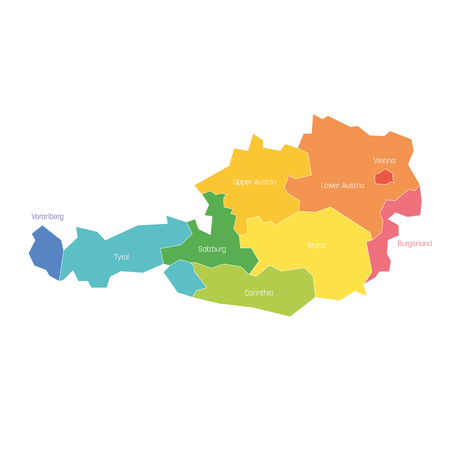States of Austria. Map of regional country administrative divisions. Colorful vector illustration. Illustration