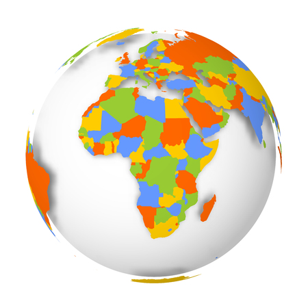 Blank political map of Africa. 3D Earth globe with colored map. Vector illustration.