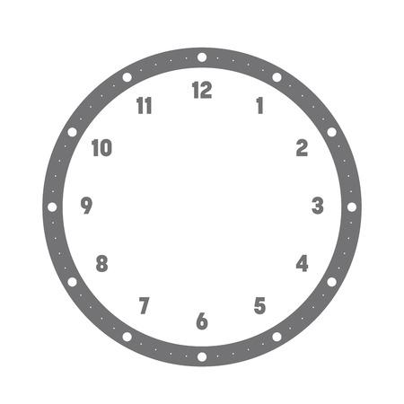 Cadran de l'horloge. Cadran des heures avec chiffres. Les points marquent les minutes et les heures. Illustration vectorielle plane simple. Vecteurs
