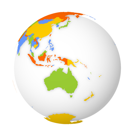 Blank political map of Australia. 3D Earth globe with colored map. Vector illustration.