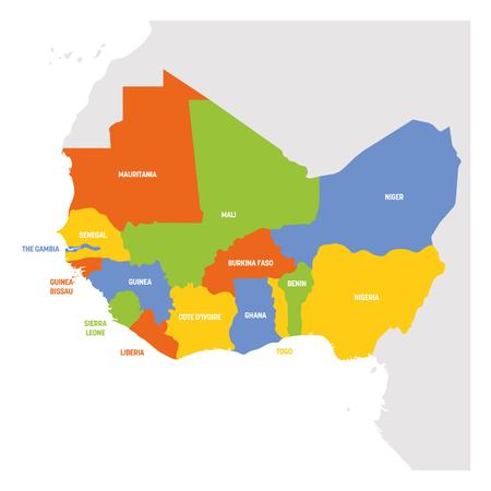 Regione dell'Africa occidentale. Mappa dei paesi dell'Africa occidentale. Illustrazione vettoriale. Vettoriali