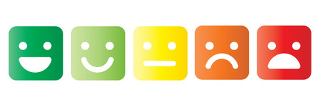 Basic emoticons set in square with rounded corners. Five facial expression of feedback scale - from positive to negative. Simple colored vector icons.
