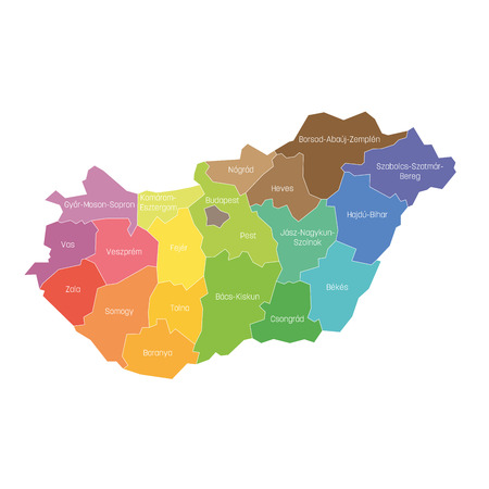 Counties of Hungary. Map of regional country administrative divisions. Colorful vector illustration.