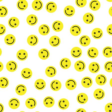 Emoji sans soudure de fond. Émoticônes jaunes simples de sourire. Illustration vectorielle.