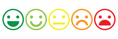 Basic emoticons set. Five facial expression of feedback scale - from positive to negative. Simple colored vector icons. Vektoros illusztráció