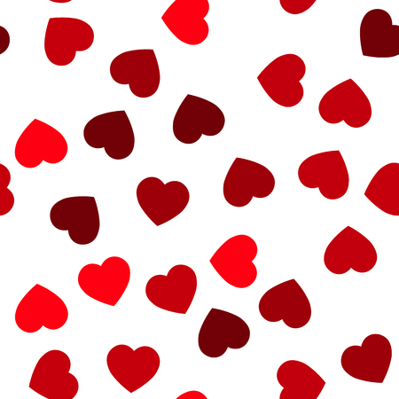 Red hearts seamless pattern. Random scattered hearts background. Love or Valentine theme. Vector illustration. Stock Illustratie