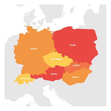 Central Europe Region. Map of countries in central part of Europe. Vector illustration.