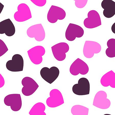 Nahtloses Muster der rosa Herzen. Zufälliger verstreuter Herzhintergrund. Liebes- oder Valentinsgrußthema. Vektor-Illustration.