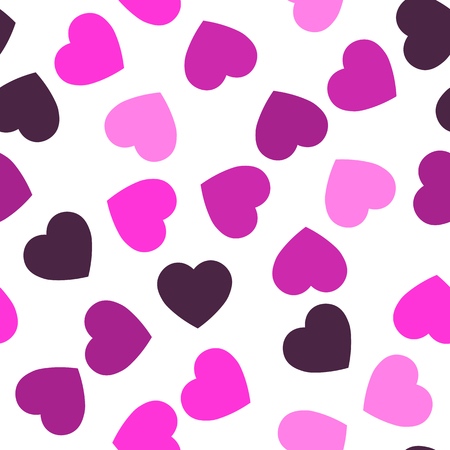 Pink hearts seamless pattern. Random scattered hearts background. Love or Valentine theme. Vector illustration.