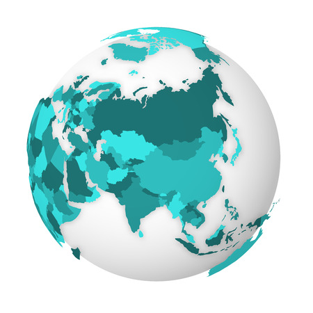 Blank political map of Asia. 3D Earth globe with turquoise blue map. Vector illustration.