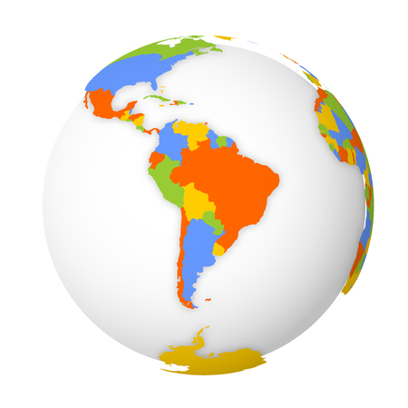 Blank political map of South America. Earth globe with colored map. Vector illustration. Ilustracja
