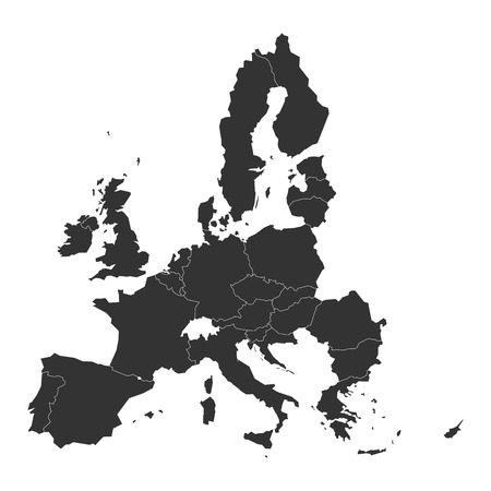 Map of Europe with dark grey EU member states before Brexit. Vector illustration. Simplified map of European Union.