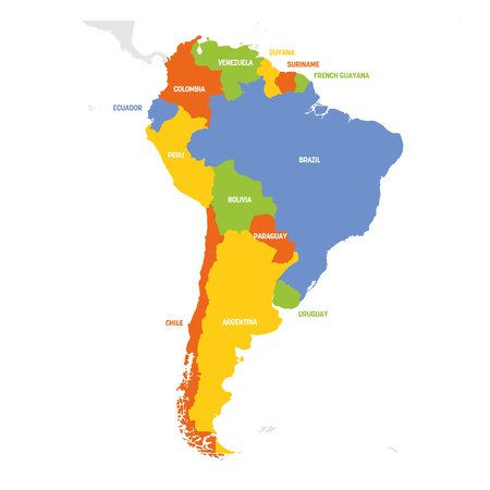 South America Region. Map of countries in southern America. Vector illustration. Vector Illustration