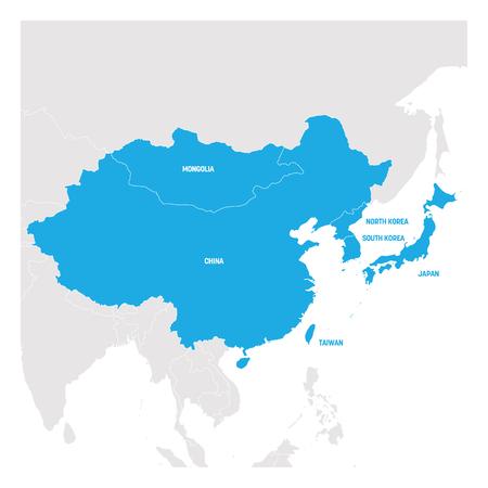 Région Asie de l'Est. Carte des pays d'Asie orientale. Illustration vectorielle.