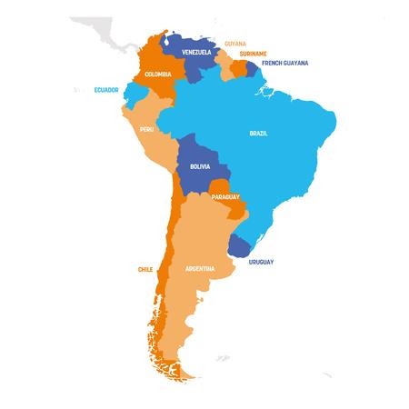 Regione del Sud America. Mappa dei paesi dell'America meridionale. Illustrazione vettoriale. Vettoriali