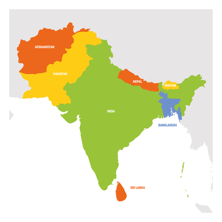 South Asia Region. Map of countries in southern Asia. Vector illustration. Stock Photo
