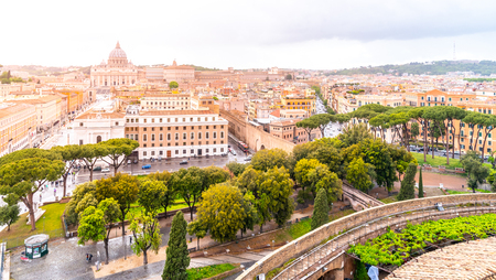 Vatican City with St. Peters Basilica. Panoramic skyline view from Castel SantAngelo, Rome, Italy. Archivio Fotografico
