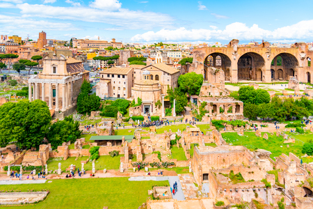 Roman Forum, Latin Forum Romanum, most important cenre in ancient Rome, Italy. Aerial view from Palatine Hill.