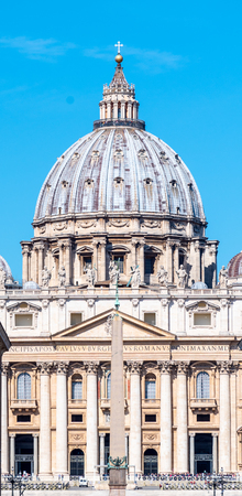 Papal Basilica of St. Peter in the Vatican. Front detailed view of dome.